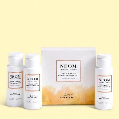 NEOM Clean & Happy Hand Sanitiser Gel (Pack of 3)